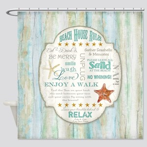 Beach House Rules Ocean Driftwood B Shower Curtain