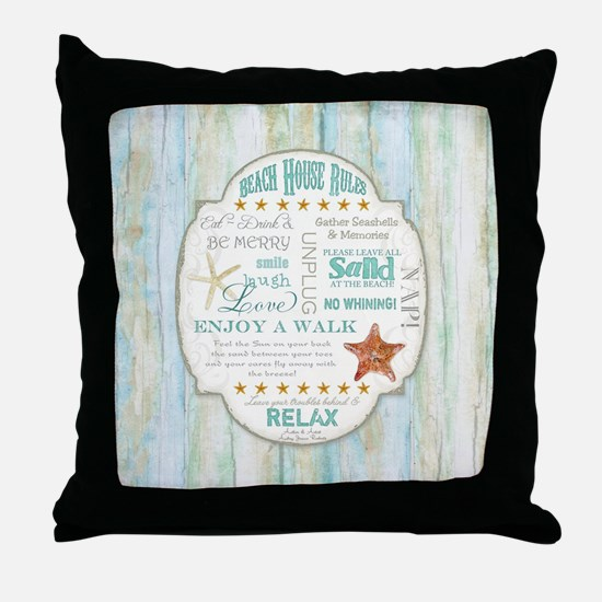 Beach House Rules Ocean Driftwood Boa Throw Pillow
