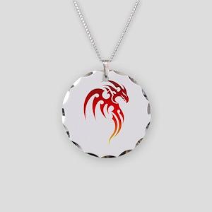 Rising Phoenix Tribal Symbol Necklace Circle Charm