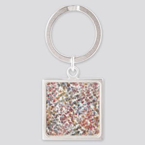 Decorative Abstract Blots in Muted Square Keychain
