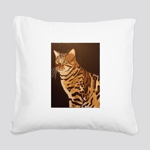 Bengal Kitty Square Canvas Pillow