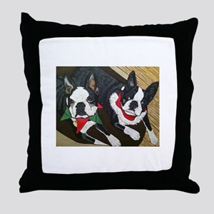 Christmas Bostons Throw Pillow