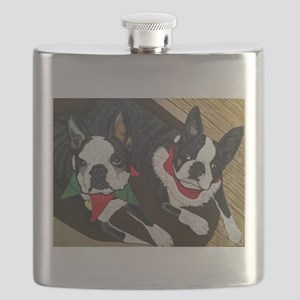 Christmas Bostons Flask