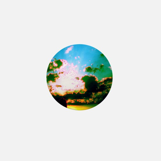Peaceful Sun Clouds Water Tower Antoin Mini Button