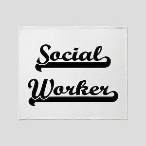 Social Worker Artistic Job Design Throw Blanket