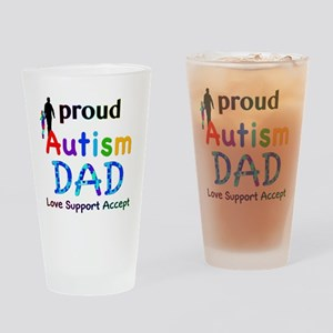 Proud Autism Dad Drinking Glass