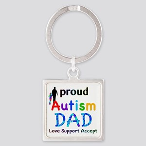 Proud Autism Dad Square Keychain