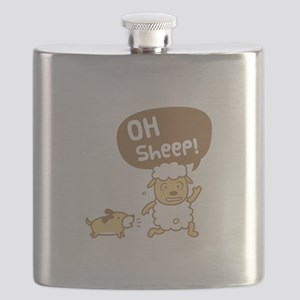 Cute Oh Sheep Pun Humor Flask