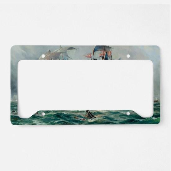 Battle Ships At War Painting License Plate Holder