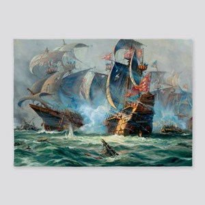 Battle Ships At War Painting 5'x7'Area Rug