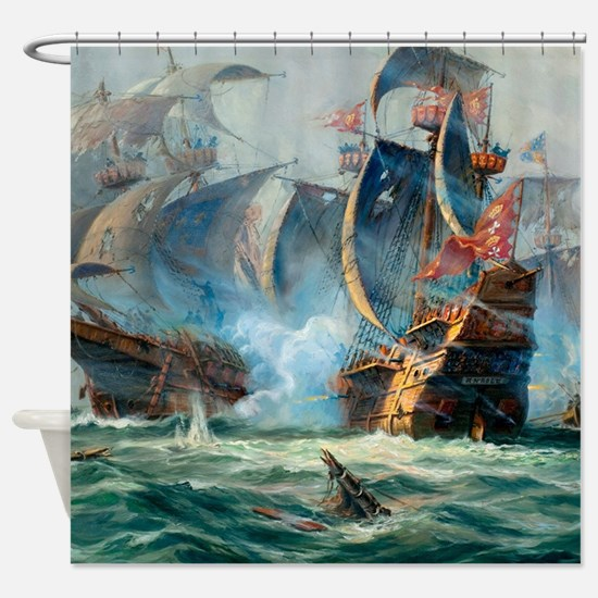 Battle Ships At War Painting Shower Curtain