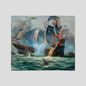 Battle Ships At War Painting Throw Blanket