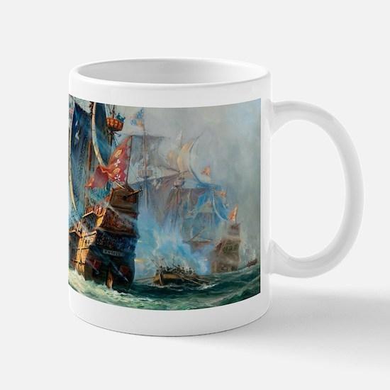 Battle Ships At War Painting Mugs