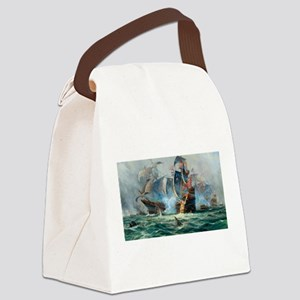 Battle Ships At War Painting Canvas Lunch Bag