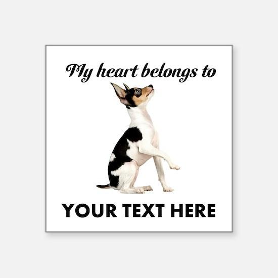 "Custom Toy Fox Terrier Square Sticker 3"" x 3"""