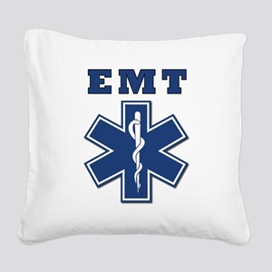 EMT Blue Star Of Life* Square Canvas Pillow