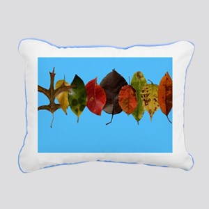 Autumn leaves on sky blu Rectangular Canvas Pillow
