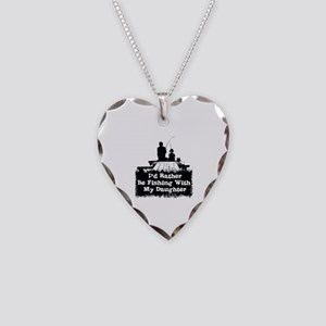 Fishing With  My Daughter Necklace Heart Charm