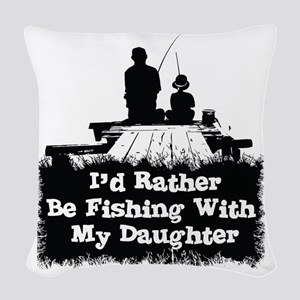 Fishing With  My Daughter Woven Throw Pillow
