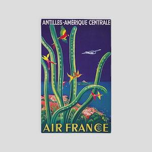 Air France Antilles Vintage Travel Poster Area Rug