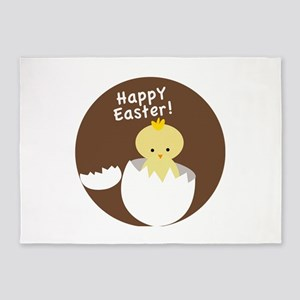 Happy Easter Chick 5'x7'Area Rug