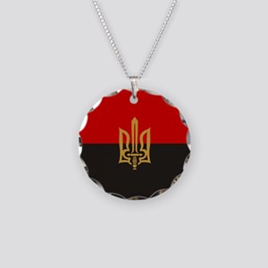 Stylized Tryzub And Red-Blac Necklace Circle Charm