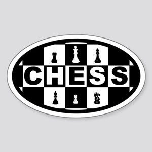 Chess Board and Pieces Oval Sticker