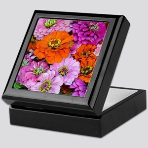Orange and purple dahlia flowers Keepsake Box
