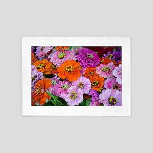 Orange and purple dahlia flowers 5'x7'Area Rug
