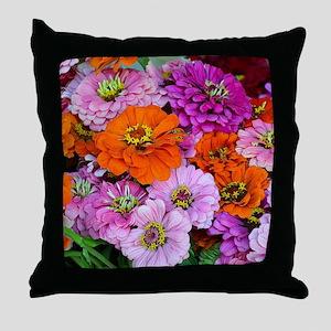 Orange and purple dahlia flowers Throw Pillow
