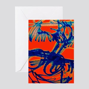 Blue Scribbles Greeting Cards