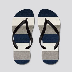 Fuzzy Stripes Flip Flops