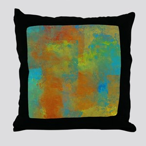 Blue, Copper, and Gold Abstract Throw Pillow