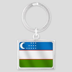 Flag of Uzbekistan Landscape Keychain