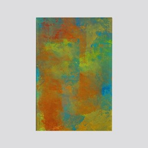 Abstract in Blue, Copper, and Gol Rectangle Magnet