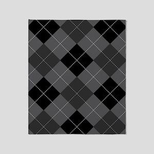 Black Gray Argyle Throw Blanket