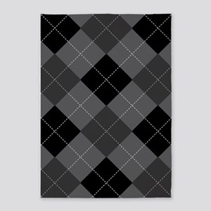 Black Gray Argyle 5'x7'Area Rug