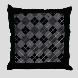 Black Gray Argyle Throw Pillow