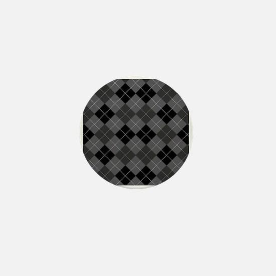 Black Gray Argyle Mini Button