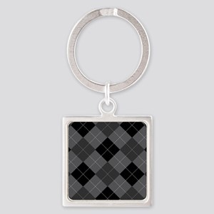 Black Gray Argyle Square Keychain