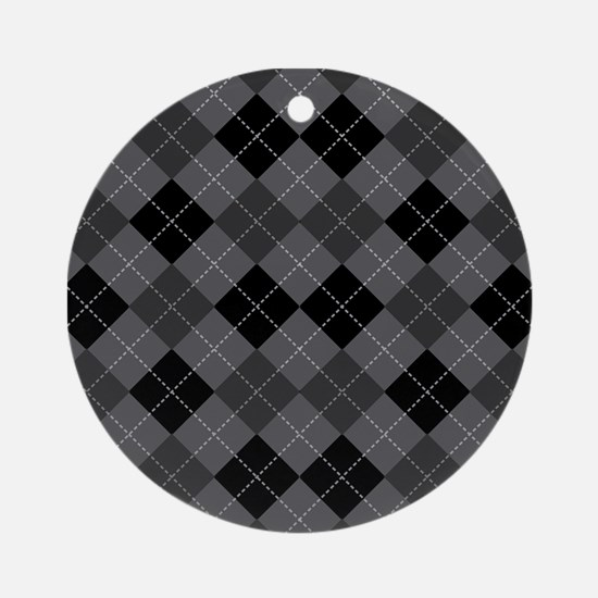Black Gray Argyle Ornament (Round)