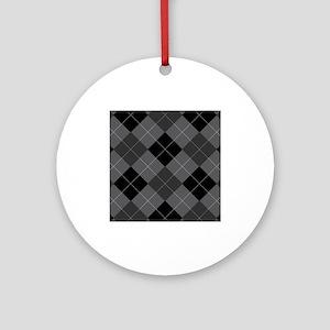 Black Gray Argyle Ornament (Round)