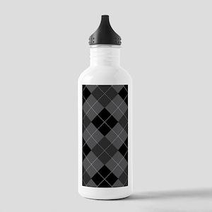Black Gray Argyle Stainless Water Bottle 1.0L