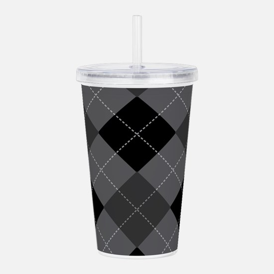 Black Gray Argyle Acrylic Double-wall Tumbler