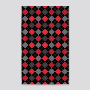 Red Charcoal Argyle 3'x5' Area Rug