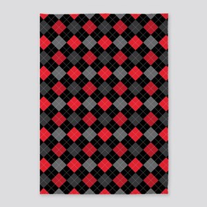 Red Charcoal Argyle 5'x7'Area Rug