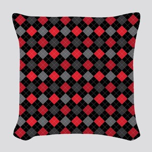 Red Charcoal Argyle Woven Throw Pillow
