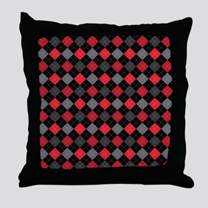 Red Charcoal Argyle Throw Pillow
