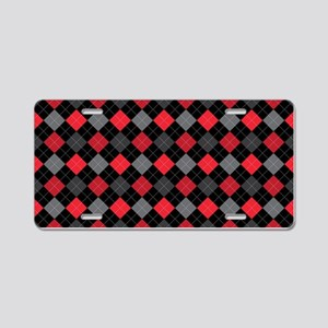 Red Charcoal Argyle Aluminum License Plate