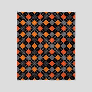 Pumpkin Charcoal Argyle Throw Blanket